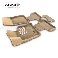 Текстильные 3D коврики Euromat3D Lux в салон для Mercedes GLK-Class (X204) (2009-2014) № EM3D-003511T Бежевые