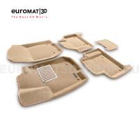 Текстильные 3D коврики Euromat3D Lux в салон для Mercedes GL-Class (X164) (2006-2012) № EM3D-003501T Бежевые