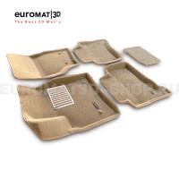 Текстильные 3D коврики Euromat3D Lux в салон для Porsche Cayenne (2002-2009) № EM3D-004100T Бежевые