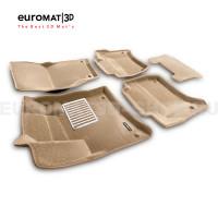 Текстильные 3D коврики Euromat3D Lux в салон для Porsche Cayenne (2010-2017) № EM3D-004101T Бежевые