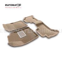 Текстильные 3D коврики Euromat3D Lux в салон для Toyota Land Cruiser Prado 150 (2010-2014) № EM3D-005115T бежевые