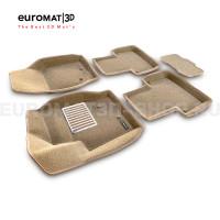 Текстильные 3D коврики Euromat3D Lux в салон для Volvo XC 90 (2002-2014) № EM3D-005508T Бежевые
