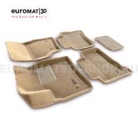 Текстильные 3D коврики Euromat3D Business в салон для Porsche Cayenne (2002-2009) № EMC3D-004100T Бежевые