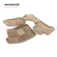 Текстильные 3D коврики Euromat3D Business в салон для Toyota Land Cruiser Prado 120 (2003-2010) № EMC3D-005121T Бежевые