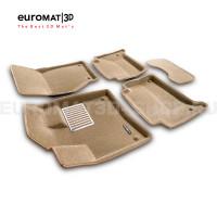 Текстильные 3D коврики Euromat3D Lux в салон для Audi Q7 (2005-2014) № EM3D-001105T Бежевый