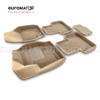 Текстильные 3D коврики Euromat3D Business в салон для Volvo XC 90 (2002-2014) № EMC3D-005508T Бежевые
