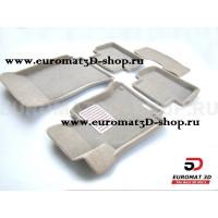 Текстильные 3D коврики Euromat3D Lux в салон для Mercedes C-Class (W204) (2007-2014) № EM3D-003503T Бежевые