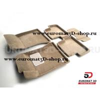 Текстильные 3D коврики Euromat3D Lux в салон для Mercedes CLA-Class (C117) (2013-2018) № EM3D-003516T Бежевые