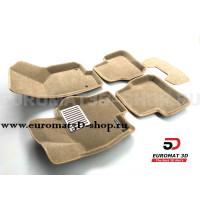 Текстильные 3D коврики Euromat3D Lux в салон для Volkswagen Passat B6 (2005-2011) № EM3D-005412T Бежевые