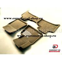 Текстильные 3D коврики Euromat3D Lux в салон для Bmw X5 (E53) (2000-2006) № EM3D-001211T Бежевые