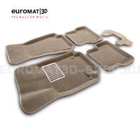 Текстильные 3D коврики Euromat3D Lux в салон для Audi A7 (2010-2018) № EM3D-001107T Бежевые