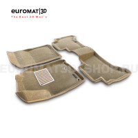 Текстильные 3D коврики Euromat3D Lux в салон для Toyota Land Cruiser Prado 150 (2014-) № EM3D-005120T Бежевые