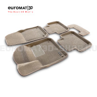 Текстильные 3D коврики Euromat3D Business в салон для Volkswagen Touareg (2018-) № EMC3D-004106T Бежевые