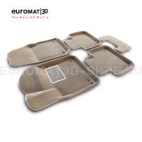 Текстильные 3D коврики Euromat3D Lux в салон для Volkswagen Touareg (2018-) № EM3D-004106T Бежевые
