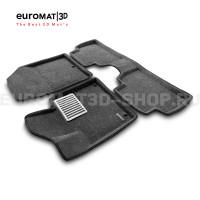 Текстильные 3D коврики Euromat3D Lux в салон для Hyundai Santa Fe (2018-) № EM3D-002704G Серые
