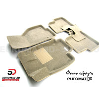 Текстильные 3D коврики Euromat3D Business в салон для Hyundai Sonata (2017-) № EMC3D-002929T Бежевые