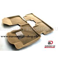 Текстильные 3D коврики Euromat3D Lux в салон для Honda CR-V (2006-2012) № EM3D-002606T Бежевые