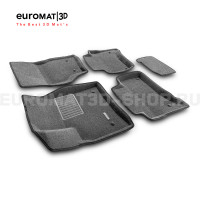 Текстильные 3D коврики Euromat3D Business в салон для Porsche Cayenne (2002-2009) № EMC3D-004100G Серые