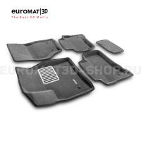 Текстильные 3D коврики Euromat3D Lux в салон для Porsche Cayenne (2002-2009) № EM3D-004100G Серые