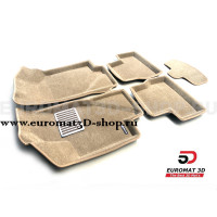 Текстильные 3D коврики Euromat3D Lux в салон для Datsun on-Do (2014-2020) № EM3D-005310T Бежевые