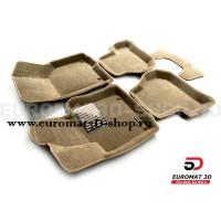 Текстильные 3D коврики Euromat3D Lux в салон для Volkswagen Golf Plus (2004-2014) № EM3D-004502T Бежевые