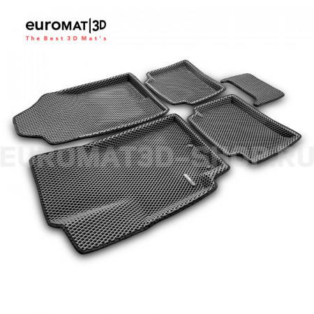 3D коврики Euromat3D EVA в салон для Hyundai Solaris (2017-) № EM3DEVA-002931G Серые