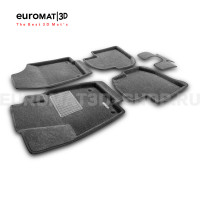 Текстильные 3D коврики Euromat3D Business в салон для Volkswagen Polo (2020-) № EMC3D-004508G Серые