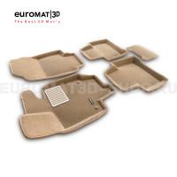 Текстильные 3D коврики Euromat3D Lux в салон для Toyota Rav 4 (2019-) (АКПП) № EM3D-005105T Бежевые