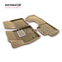 Текстильные 3D коврики Euromat3D Lux в салон для Cadillac XT6 (2021-) № EM3D-001307T Бежевые